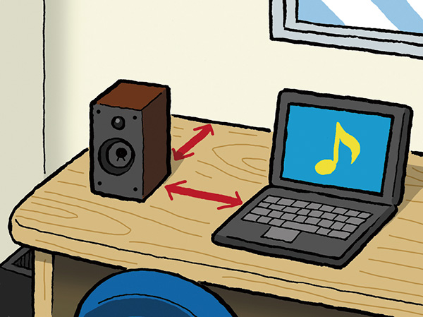 ↑スピーカーは、首位の壁やPCから遠ざけて設置。低音を出すためのバスレフポートを背面に備えるタイプは、後方の壁との距離も十分に確保しましょう