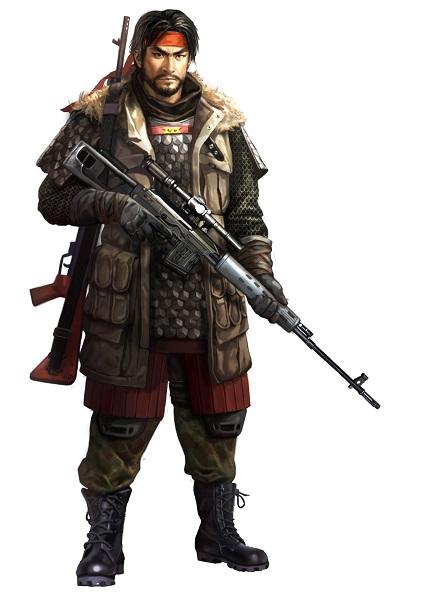 ↑スナイパーライフルを持った雑賀孫一。現代の特殊部隊さながらの格好だ