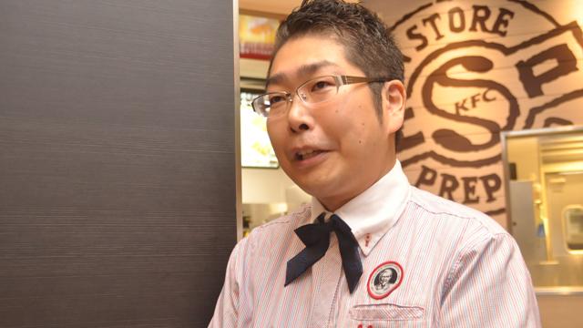 ↑KFC商品開発部の菊池英明さん。「『焼きフライドチキン』は約1年かけて生み出した傑作です!」と力説していました