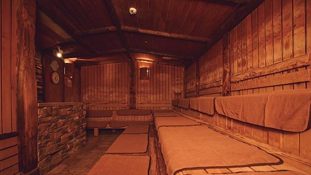 屋内のフィンランドサウナ(写真)は、屋外のサウナと時間をずらしてロウリュを実施。屋内は1日4回、屋外は1日2回です