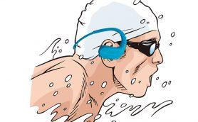 泳ぎながら音楽リスニングを実現するヘッドホン一体型のウォークマンの利便性!