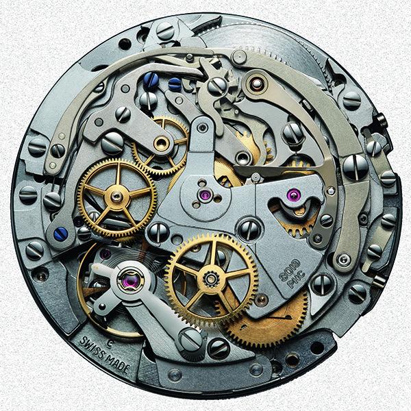 ↑自動巻きとクロノグラフ機構を一体化させたゼニスのエル・プリメロ、キャリバー3019PHC。毎時3万6000振動により、10分の1秒計測を実現。