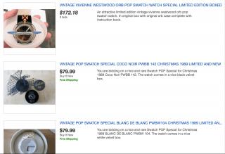 ↑ebayで検索したらオリジナルのswatch popが出品されていました。Vivienne Westwoodとのコラボレートなんていうのもあったんですね
