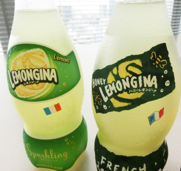 ↑レモンジーナ(左)とのラベルの比較。ハニーレモンジーナのほうはボディペイントを思わせる手描き風です