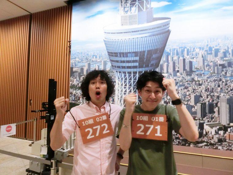 ↑GetNavi編集長の野村純也と、家電・ファッション担当の青木宏彰が挑戦者として参加しました