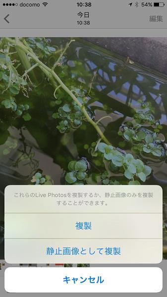 ↑写真を複製する際、Live Photoから静止画を抽出可能