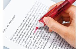 【1本4役】筆記もマーキングもこれ1本! 蛍光マーカー付き3色ボールペン「アクロボール スポットライター」