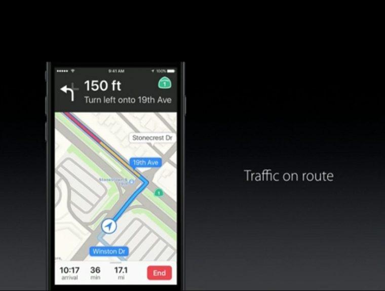 ↑Mapアプリはナビ機能強化など