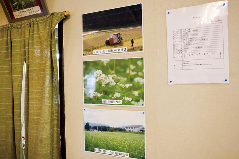 ↑店内の壁には、そばの収穫風景などを写した写真が貼られている。同店のそばへのこだわりは極めて強く、社長自ら年に何度か契約畑に足を運び、そばの生育状況を視察に行くのだとか