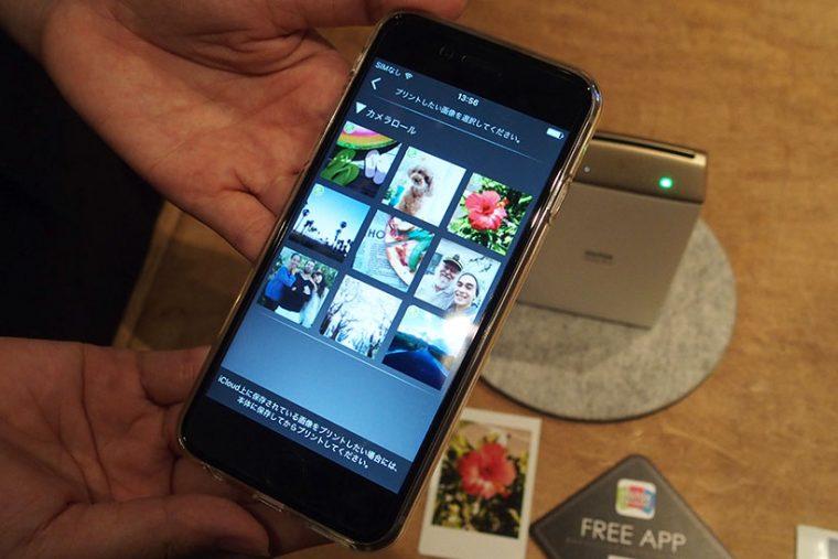 ↑スマホdeチェキ専用アプリ「instax SHARE」を起動し、スマホに保存している写真の一覧からプリントしたい写真を選びます