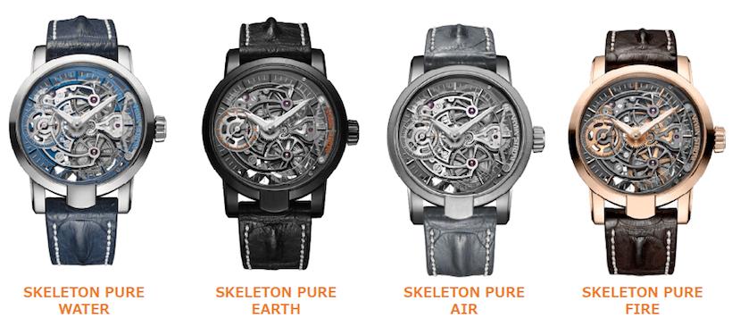 ↑一番左にあるスケルトン ピュア ウォーターは、2015年のレッドドットデザイン賞受賞作