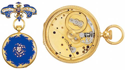 ↑1945年にパテック フィリップが開発し、1851年のロンドン万国博覧会で金賞を受賞した、竜頭巻上げ式・時刻合わせの時計。時のヴィクトリア女王に献上された