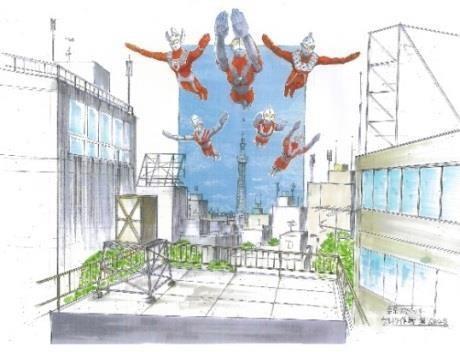 ↑特撮風フォトスポットイメージ(ウルトラヒーローの浮遊はイメージです)