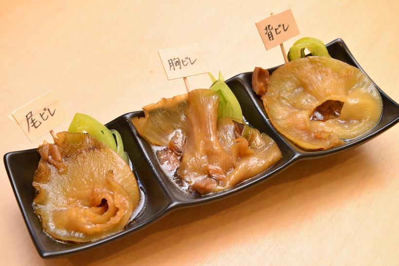 ↑3種のフカヒレ姿煮 2580円