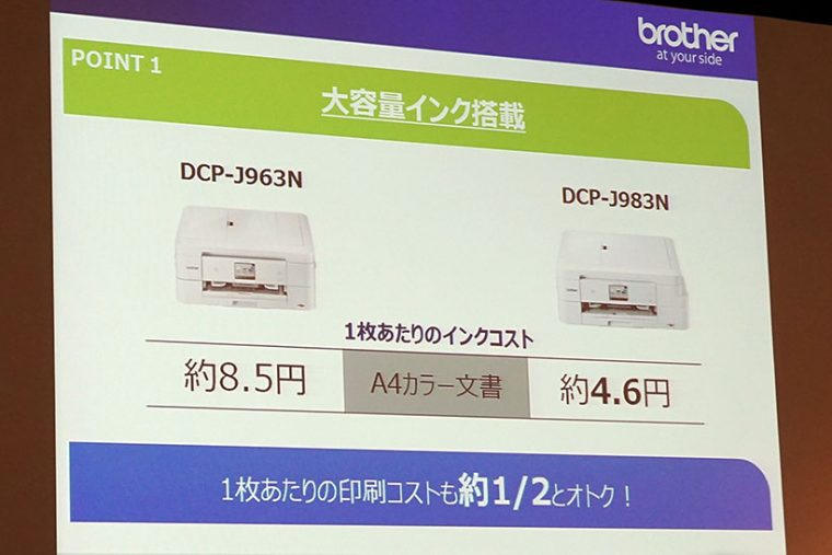 ↑印刷コストは従来機の約2分の1を実現