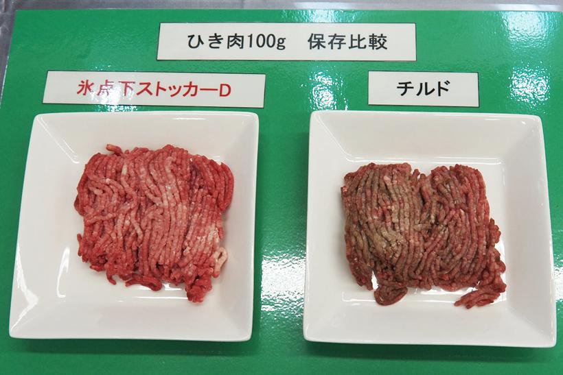 ↑チルド室で保存したミンチ(右)と、氷点下ストッカーDで保存した肉(左)を比較。同じ時間冷蔵したにもかかわらず、氷点下ストッカーD側は変色していない