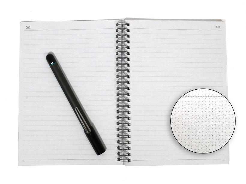 ↑専用ノートは、拡大すると細かいパターンが全面に印刷されている