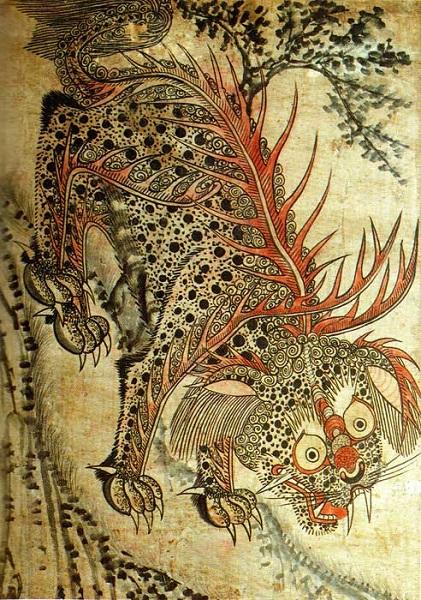 ↑李氏朝鮮時代に描かれた虎の妖怪「ボン」の図