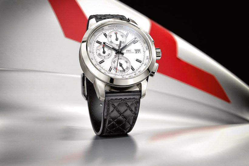 "HANDOUT – The Ingenieur Chronograph Edition ""W 125"" (Ref. IW380701) from IWC Schaffhausen features a case in titanium, silver-plated dial and striking black hands and appliqués, together with a black calfskin strap. The watch takes up the theme of the Mercedes-Benz W 125 Silver Arrow, which was designed by Rudolf Uhlenhaut and dominated the competition as emphatically as the current version of the Mercedes Silver Arrow heads up motorsport's premier competition today. The timepiece is limited to 750 pieces. (PHOTOPRESS/IWC)"