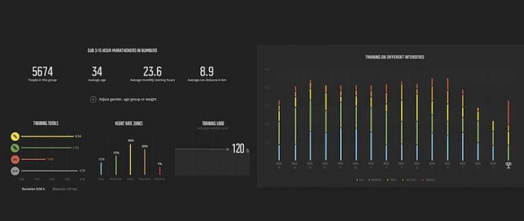 ↑フルマラソンを 3 時間 15 分で完走するランナーを選択。合計人数、平均年齢、月間平均トレーニング時間等を表示