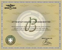 ↑すべてのモデルがクロノメーターであるブライトリングの時計には、この「COSCクロノメーター認定書」が発行される。