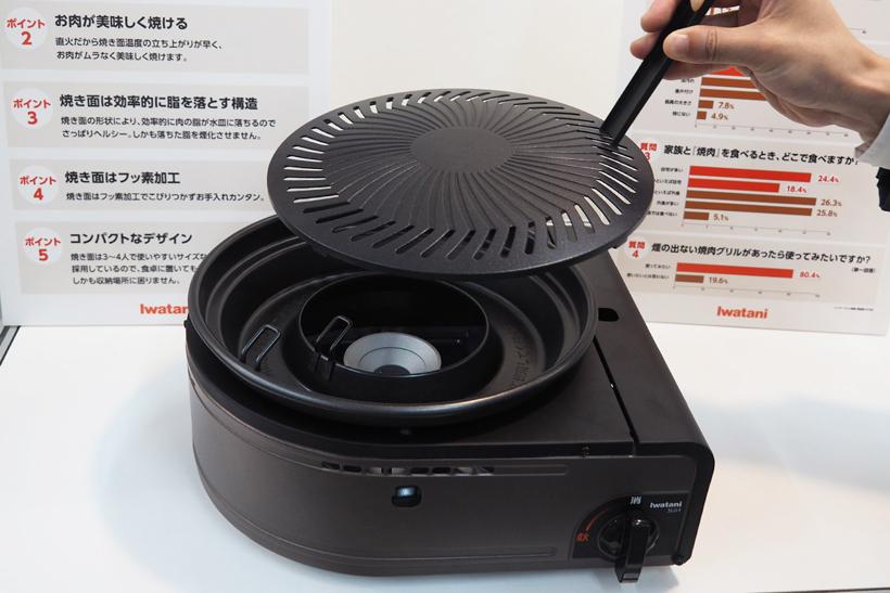 ↑プレートはフッ素加工で汚れにくいですが、万が一汚れた場合も熱いプレートを持ち運びできるハンドルが付属するので、すぐに洗い流せます