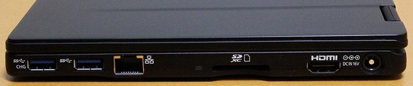 ↑右側面。左から、USB 3.0×2・LAN・SDメモリーカードスロット・HDMI・電源端子となっています。