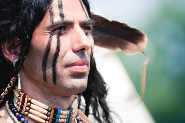46624795 - portrait of american indian in national dress