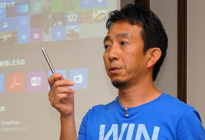 ↑ペン入力の性能向上について語る日本マイクロソフト春日井良隆氏