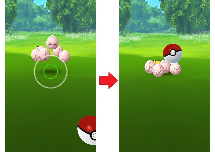 ↑ボールを画面端まで引っ張ってきて真上にスワイプします。ボールに変化が加わり、ポケモンに向かっていきます