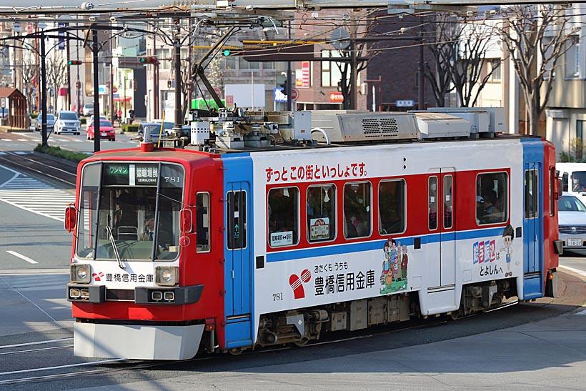 ↑名鉄軌道線からやってきたモ780形。このように派手なラッピング塗装車が多いのが特徴