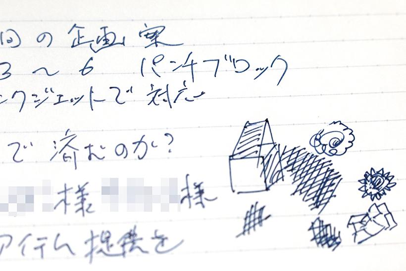 ↑実際に筆者のノートにあったいたずら書き。会議の内容とはまったく関係ない謎図形が並ぶ