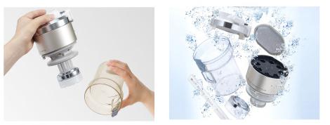 ↑↑衛生的で使いやすい設計。ゴミを集める部分は丸ごと水洗いができます
