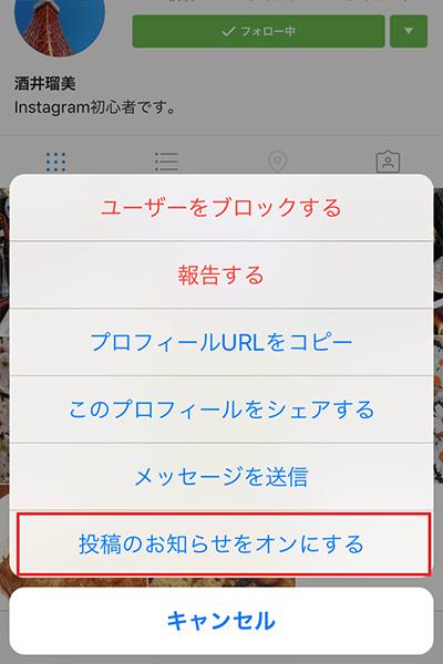 ↑プロフィール画面を表示し、「メニュー」アイコン→「投稿のお知らせをオンにする」の順にタップしてもOK