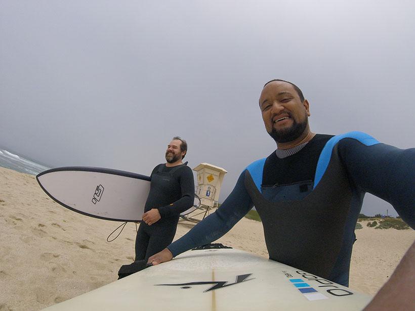 ↑ジャスティン氏もサーフィンを楽しむことがあるという