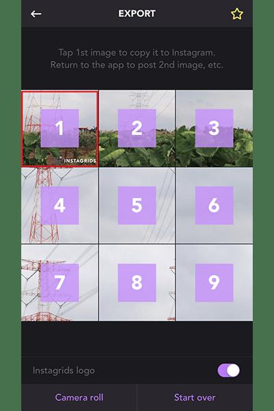 ↑写真が分割されたら、1番の写真をタップ