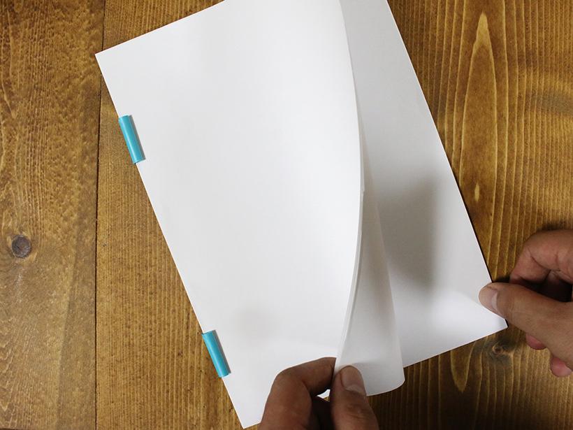 ↑クリップ2つで簡単製本が可能