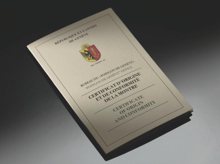 ↑シリアル&リファレンスナンバーなどが記された、ジュネーブ・シール合格保証書