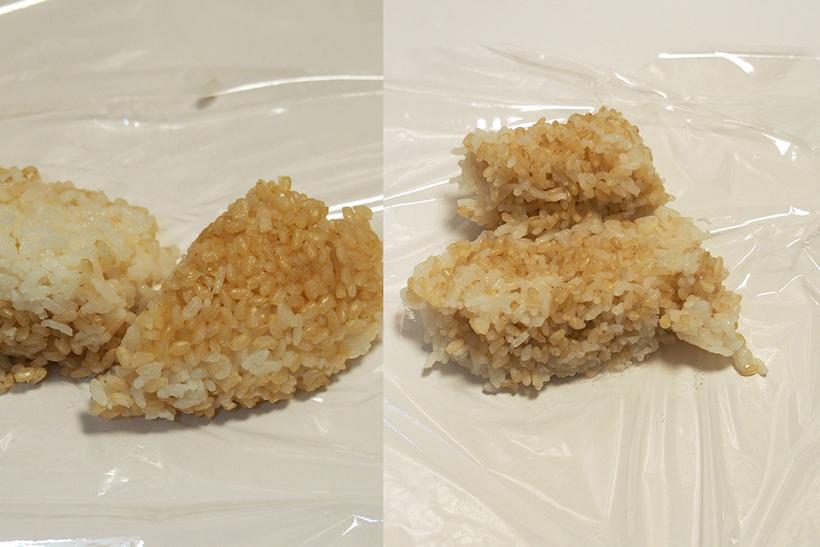 ↑沸騰による釜内の「かき混ぜ」効果を知るため、底に玄米、上に白米をセットして炊飯してみました。炊き上がり、廉価炊飯器(左)には玄米や白米が固まったエリアがありますが、NW-AS10(右)はきれいに混ざっています。とくに底面の違いは一目瞭然。沸騰による「かき混ぜ効果」の違いがわかります