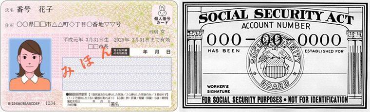 ↑マイナンバーカードの見本(総務省HPより)と、旧スタイルのSSNの見本