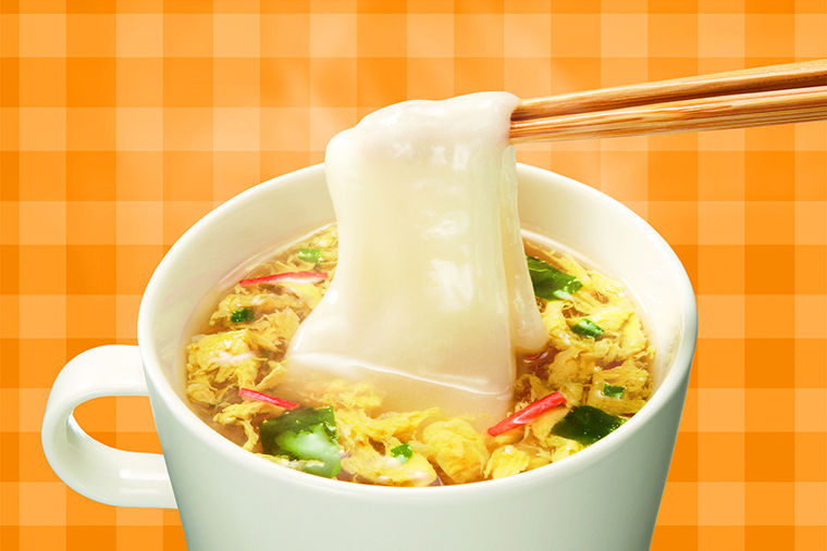 ↑インスタントのスープに加えて簡単調理