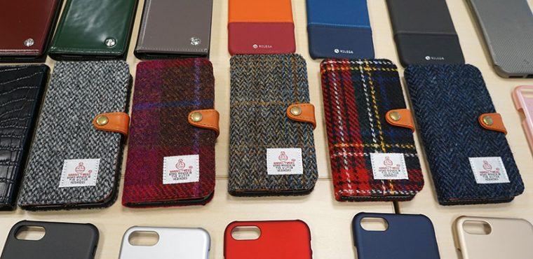 ↑人気のハリス・ツイードの記事を使ったRILEGAブランドのiPhone 7用フリップケース