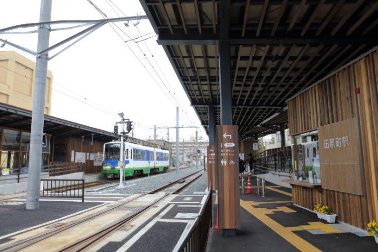 ↑田原町駅は福井鉄道とえちぜん鉄道の接続駅。大きく改造され、相互乗り入れが可能になった