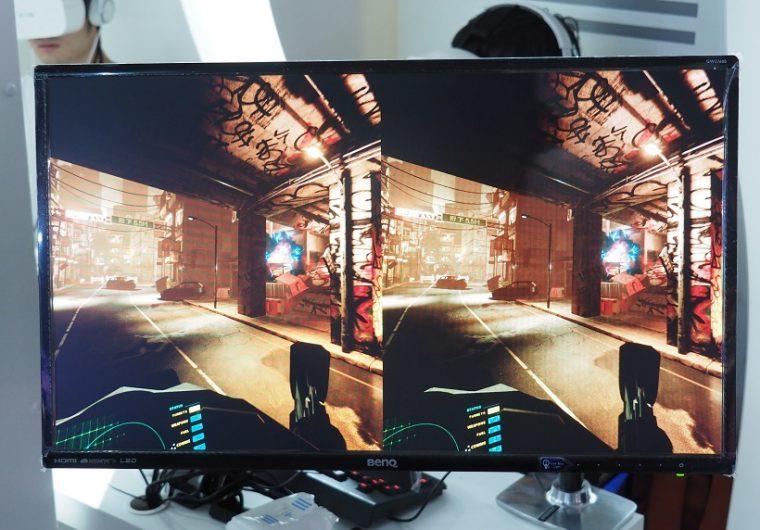 ↑FOVEで見ている画面をPCディスプレイに表示したところ。視線を移動するだけで、照準を合わせられます
