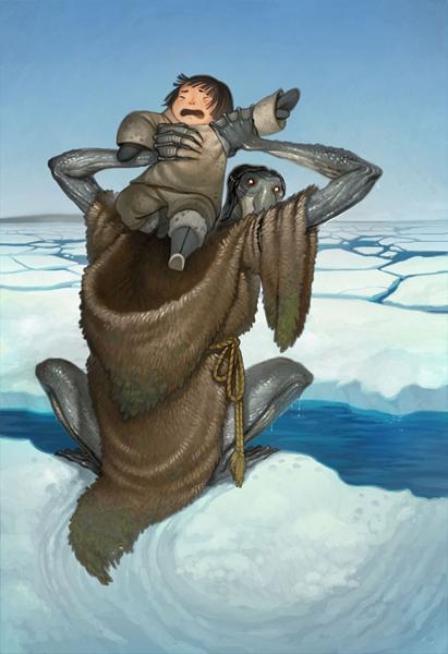 ↑人間を海中へとさらおうとする北極人魚クァルパリクの想像図(絵/Wikia)。一般的な人魚の美しいイメージとはかけ離れた姿だ