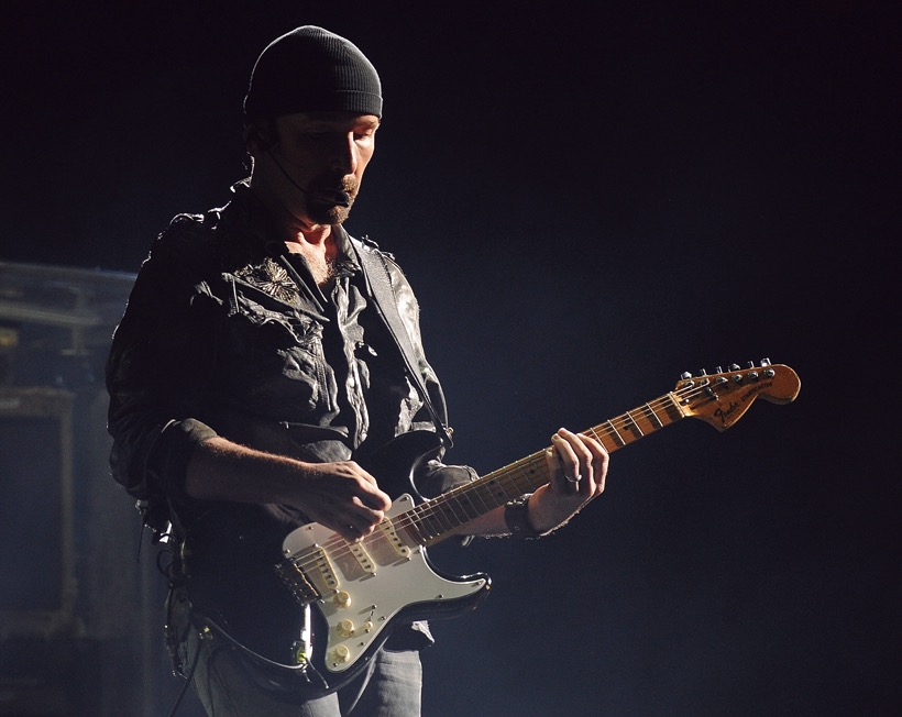 The Edge of U2 performs at Angel Stadium of Anaheim on June 18, 2011 in Anaheim, California. (Photo by C Flanigan/WireImage)