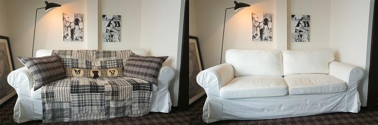 ↑右と左の写真で違うのは、ソファに掛けたファブリックとクッションカバーのみ。大物家具はそのままでも模様替えの効果を感じます。光が透過しないシェードの付いたスタンドライトは壁に光を当てて陰影を出すことで部屋をシックな雰囲気に演出しています