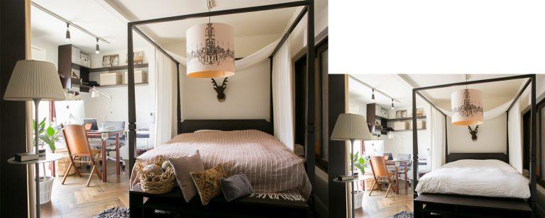 ↑寝室はベッドカバーとクッションカバーを落ち着いた色のファブリックに替えるだけでこんなに秋らしく変化します