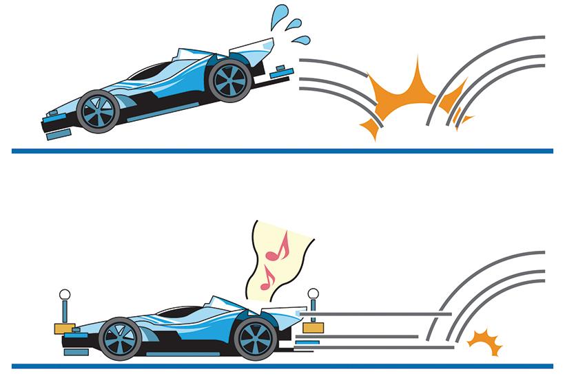 ↑マスダンパーが無いとジャンプ着地直後に 跳ね上がり、コースアウトの危険性が高い (イラスト上)。マスダンパーをバランスよく 配置すれば、マシンが跳ねにくい(下)