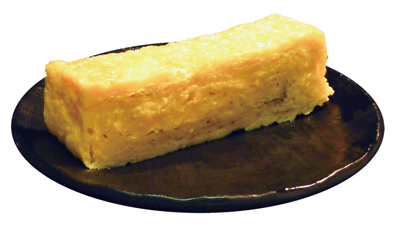 ↑自家製厚焼き玉子(216円) 店内で丁寧に焼き上げた厚焼き玉子。できたてを提供するため、アツアツトロトロが食べられる